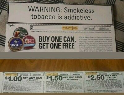 3 Longhorn tobacco coupons-$2.50 off a roll/tub, $1.50 off 2 cans & $1 off 1 can
