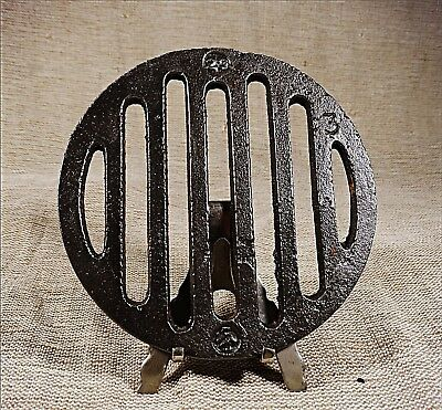 Antique Cast Iron Old Stove Pipe Flue Cover Grate Ventilator   4 27⁄32 inch´s