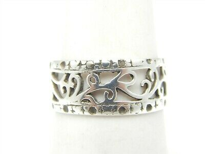 925 STERLING SILVER FILIGREE FLORAL BAND STYLE RING SIZE 6.5 RT8