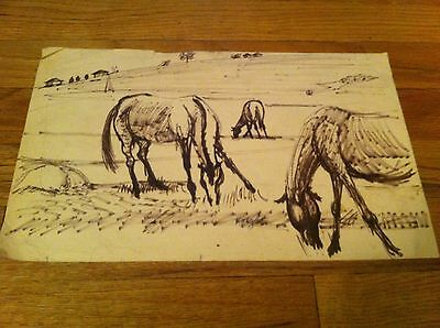 vintage marker on paper of grazing horses farm background Pony Ponies Horse art