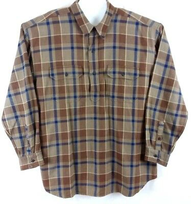 J Crew Mens XLT XL Tall Brown Plaid Pullover Button Top Thick Shirt Cotton Vtg