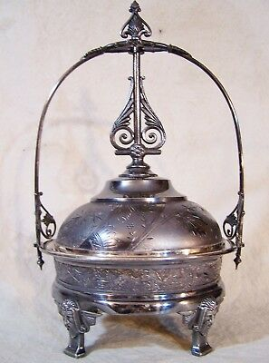 Antique Aesthetic Edwardian Silverplate Covered Domed Butter Cheese Dish Server