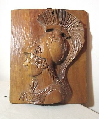 vintage hand carved Roman Italian warrior relief wood wall plaque sculpture
