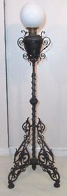 antique ornate 1878 Victorian Bradley Hubbard B&H cast iron floor oil lamp brass
