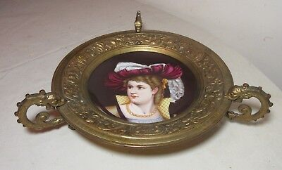 antique 19th century hand painted porcelain gilt bronze French bowl dish plate