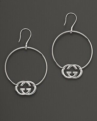 1307c72db8e GUCCI Sterling Silver BRITT HOOP Earrings Double GG Logo NEW AUTHENTIC Boxed