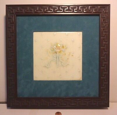Framed Antique Providential Art Tile Trenton NJ 1885-1913 Multicolor Flowers