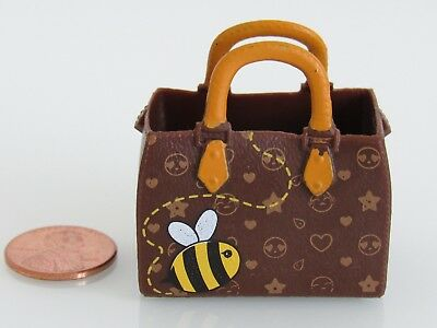 Brown Designer-Style Emoji Fashion Purse / Tote Bag For/fits Dollhouse Doll