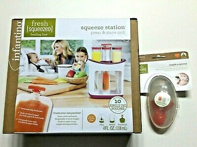 Infantino Fresh Squeeze Station Toddler Baby Food Maker Storage Pouches & Spoons