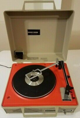 Vintage General Electric Solid State Orange Record Player Turntable Portable