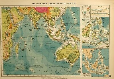 1927 Large Mercantile Marine Map Indian Ocean Cables Wireless Station Malay