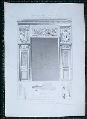 1880 French Architecture Print Style Louis Xvi Chambre A Coucher Hotel Voltaire