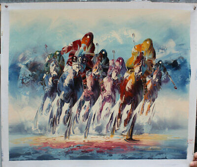 Hand-painted Art Wall Oil Painting Modern beautiful Horse racing on Canvas Decor