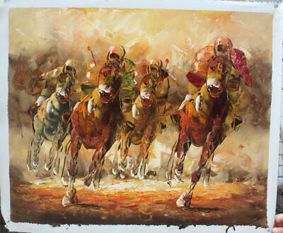 Hand-painted Oil Painting beautiful Horse racing Modern Art Wall on Canvas Decor