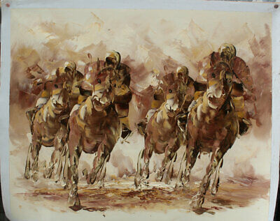 Oil art work Horse Racing horserace in beautiful landscape Hand painted