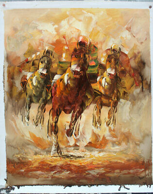 100% Hand painted Horse Race ART OIL PAINTING Wall ON CANVAS Modern Decor A0818