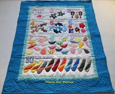 Hawaiian STYLE NUMBERS quilt baby crib blanket hand quilted wall hanging AB