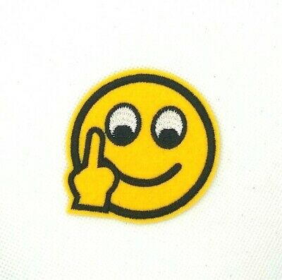 "Middle Finger Emoji Patch Jacket Embroidered sew or Iron On Patches ""261"