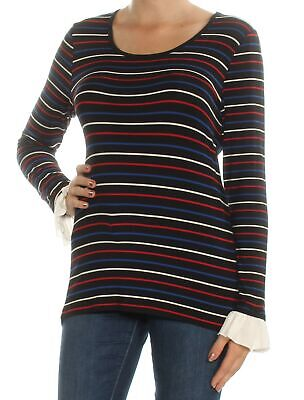 7ca758a68c99 TOMMY HILFIGER  59 Womens New 1431 Gold Striped Glitter Long Sleeve ...