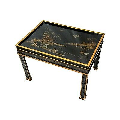 Vintage Drexel Heritage Asian Black Lacquer Side End Table Chinese Chinoiserie