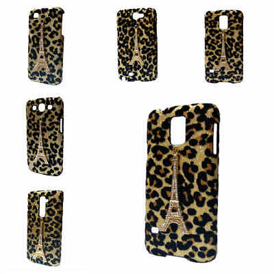 3D Deluxe Bling Leopard Gold Diamond Tower Hard Back Case Cover For Lot Phones