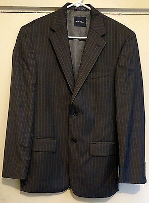 Nautica Two Button Dark Grey Pin Striped Sport Jacket Blazer 100% Wool Size 38R