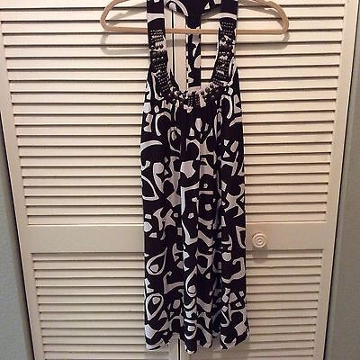 I.N.C International Concepts Womens Size Small Dress Brown White Beaded Neckline