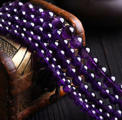 Natural 4/6/8/10mm Purple Amethyst Gemstone Round Loose Beads 15'' Strand AAA