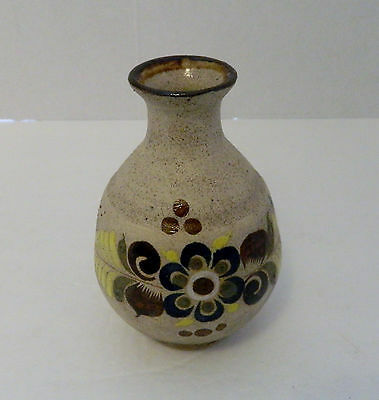 Mexican Pottery Small Stoneware Vase Floral  Hand Painted MontenoTraq Signed