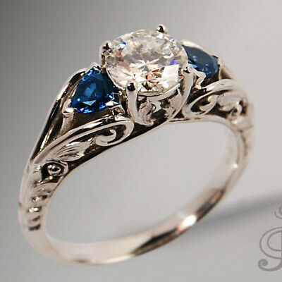 Antique Jewelry Silver White &Blue Sapphire Ring Proposal Engagement Jewelry
