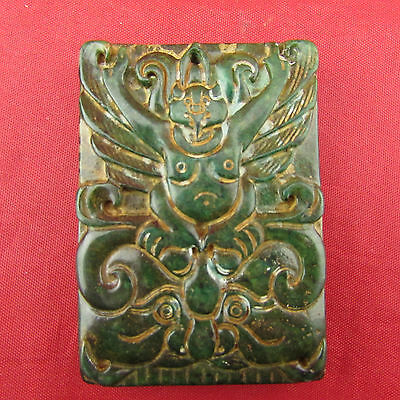 Chinese ancient Green jade hand carving Strange character pattern  pendant B1209