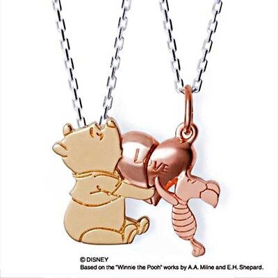 Disney Winnie the Pooh Piglet Pair Necklace Silver THE KISS Fast Ship Japan EMS