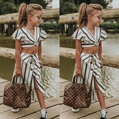 AU Child Girls Crop Tops T-shirt+Skirt Outfit Clothes Kids Party Dress Sundress