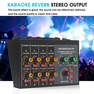 Professional 8 Channel Live Studio Audio Sound USB Power Mixer Mixing Console