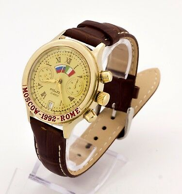 Poljot 3133 Moscow Rome-1992 gold plated mechanical chronograph watch LIMITED!