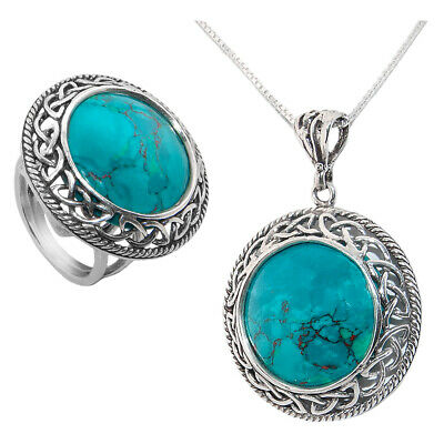 King Solomon Stone Silver Pendant And Ring Set Handmade From Israel Celtic Style