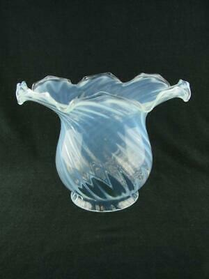 Repro Victorian Opalescent Swirl Moulded Glass, Wide Rimmed Tulip Oil Lamp Shade