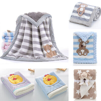 Soft Baby Kids Rabbit Flannel Blanket Bedding Quilt Play Blanket Towel Wrap