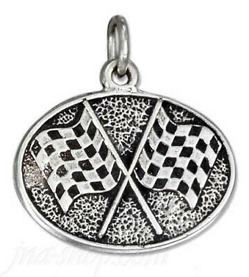 925 Sterling Silver ANTIQUED OVAL CHECKERED FLAGS CHARM PENDANT