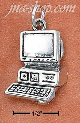 Sterling Silver LARGE ANTIQUED COMPUTER CHARM PENDANT