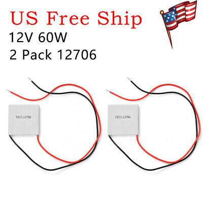 2 Pack 12V 60W TEC1-12706 Heatsink Thermoelectric Cooler Peltier Cooling PlateUS