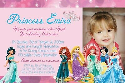 Personalised Photo Girls Birthday Party Invite Invitation Princess Princesses