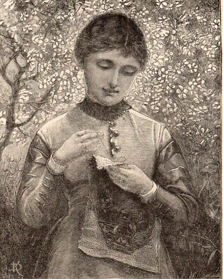 Antique Victorian Art print engraving 1887 Young Lady sewing working the slipper