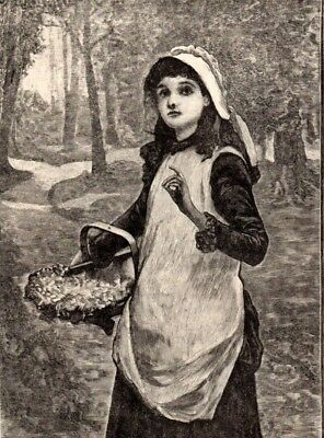 Antique Victorian Art print engraving 1887 The First Bluebird Girl with basket
