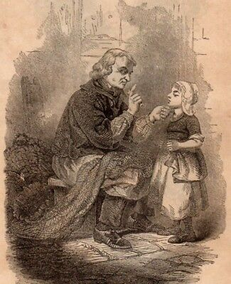 Antique Victorian Art print engraving 1862 Reproof Child chastised by old man