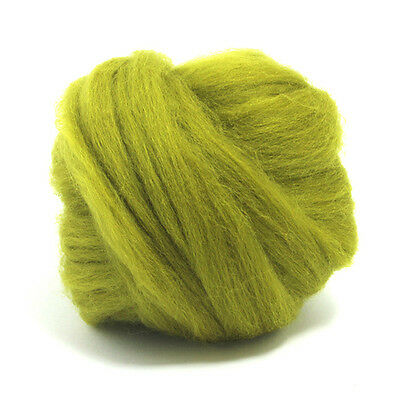 100g DYED MERINO WOOL TOP LICHEN GREEN DREADS 64's SPINNING FELTING ROVING