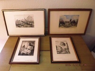 Collection 4 Original Etchings French Etching Barbizon Marcel Jacque Estate Lot