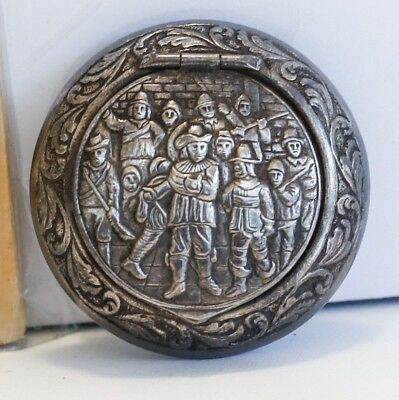 Vintage Silver Metal Box with 3-Dimensional Rembrandt Night Watch Scene