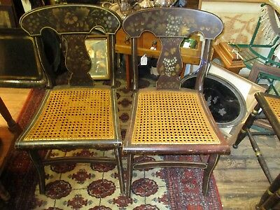 Antique Pair Of Stenciled Empire Fiddle Back Side Chairs