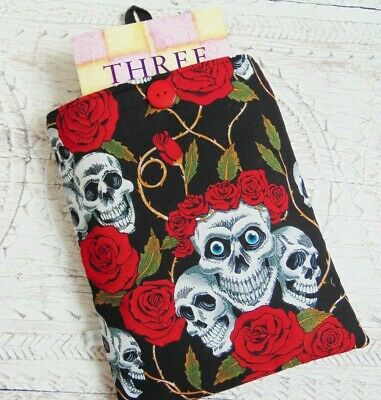 Handmade Book Sleeve, Skulls & Roses Book Cover, Paperback Sleeve, Gadget Pouch